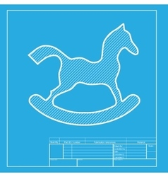 Horse toy sign White section of icon on blueprint vector