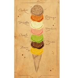 Ice cream menu kraft vector image