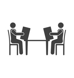 icon of people sitting at the table with a menu vector image