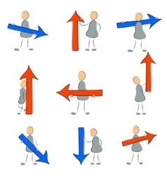 Icon set grey man with arrow vector image