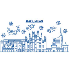 Italy milan winter city skyline merry christmas vector