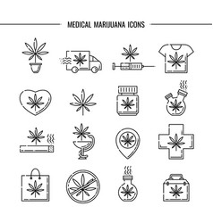 medical marijuana icons set vector image