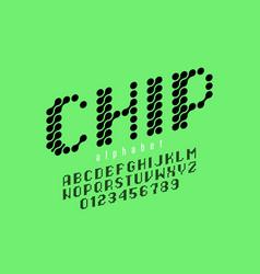 microcircuit style font alphabet letters vector image