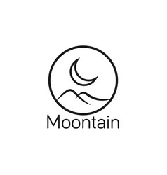 moon and mountain logo design template vector image