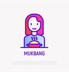 Mukbang thin line icon girl with food modern vector