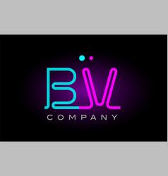 neon lights alphabet bv b v letter logo icon vector image