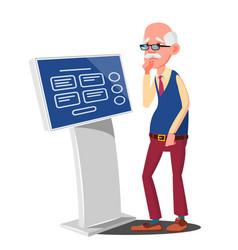 old man using atm digital terminal vector image