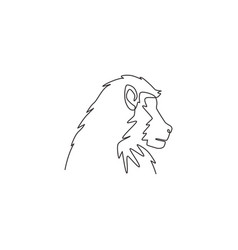 One continuous line drawing baboon head vector