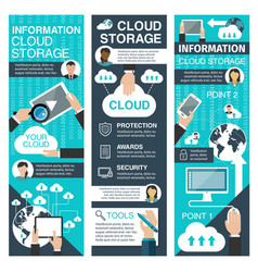 online storage and cloud technologies banner vector image
