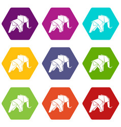 origami elephant icons set 9 vector image