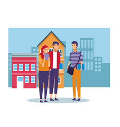 people and city vector image