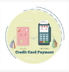 pos terminal and credit card in line art style vector image