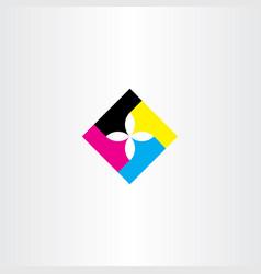 print logo icon flower element cmyk sign symbol vector image
