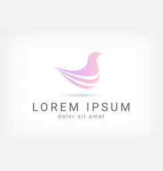 Purple bird minimal curve abstract logo design tem vector