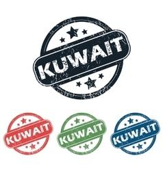 Round Kuwait city stamp set vector