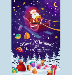 santa sleigh with chistmas and new year gifts vector image