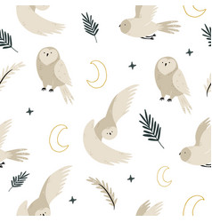 Seamless pattern with cute owls and hand drawn vector
