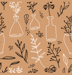 seamless pattern with glass bottles which contain vector image