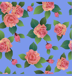 seamless spring background with roses pink vector image