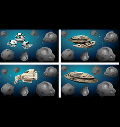 Set different space ships vector