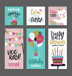 Set greetings cards invitation for birthday vector
