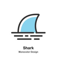 Shark fin monocolor vector