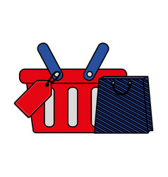 shopping online basket and bag tag price vector image