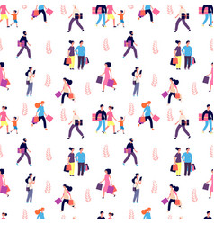 shopping people pattern happy smiley men women vector image