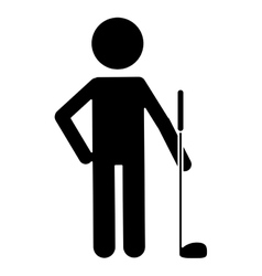 Silhouette character golf player uniform vector