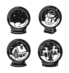 snowglobe icons set simple style vector image