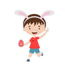 spring laughing running boy with bunny ears vector image