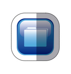 Sticker blue square frame with folder icon vector