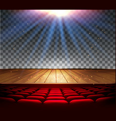 Theater wooden stage with a spotlight vector