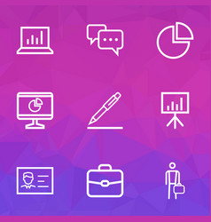 trade outline icons set collection of businessman vector image