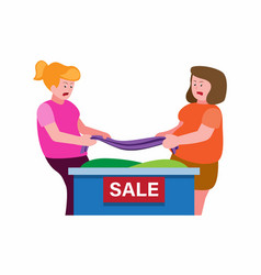 Two woman fighting over to get clothes mall sale vector