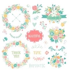 Wedding vintage elements collection vector image