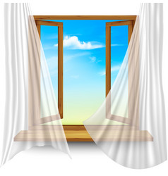 wooden window frame with curtains on a vector image