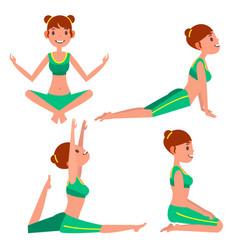 Yoga woman poses set girl yoga exercise vector