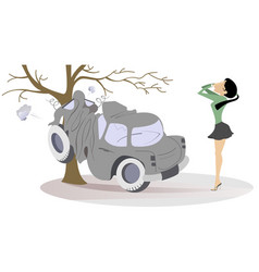 Young woman have got into a road accident vector