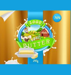 Butter milk farm 3d realistic package design vector