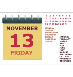 Calendar for the year vector image vector image