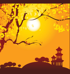 chinese landscape with branches vector image vector image