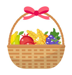 Fruit basket icon flat cartoon style jewish vector
