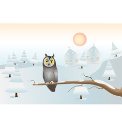 sitting owl - christmas card vector image vector image