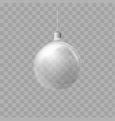 Template of glass transparent christmas ball vector