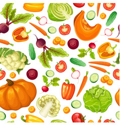 cartoon fresh vegetables seamless pattern vector image