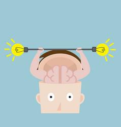 human brain exercise with fresh bulb idea vector image