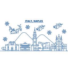 italy naples winter city skyline merry christmas vector image