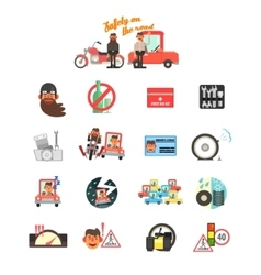 Motorcycle and Car Safety Drive Rules vector image