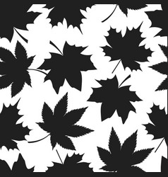 seamless pattern autumn leaves black silhouettes vector image